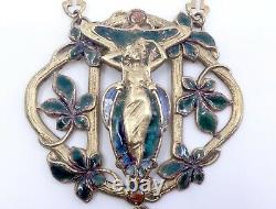 Old Gold Metal Old Plastron Necklace Enamelled Art Nouveau Mucha Style