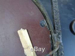 Old Oval Mirror Coat Rack Wrought Iron Art Nouveau Deco Vintage 1950 Design