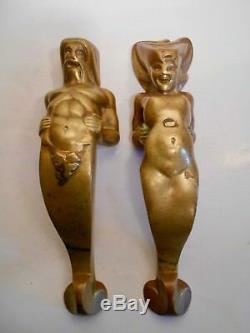 Old Pair Handle Couple Fauna Stylized Design Cocteau Era Vintage 1940-50