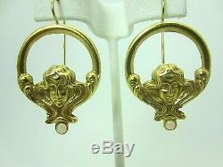 Old Vintage 14k Yellow Gold Opal Earring Art Nouveau Earrings