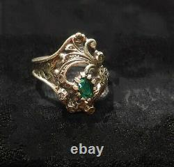 Old/vintage Art Nouveau Ring Silver, Sapphires And Colored Glass