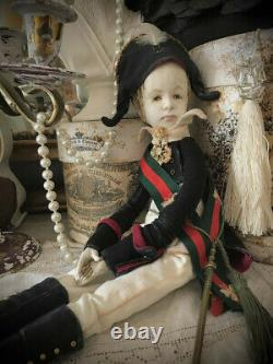 Ooak Doll Art, Doll Artist, Doll, Collectible Doll, Harlequin, Pierrot Vintage
