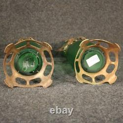 Pair Of French Vases In Art Style New Glass Vintage Metal Collection 900
