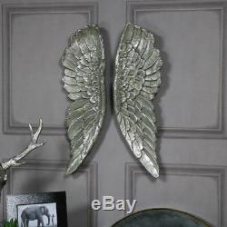 Pair Of Large Silver Gilding Angel Wings Vintage Style Wall Art House Gift
