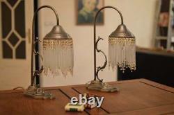 Pair Vintage Art Nouveau Table Lamps MID Century Crystal
