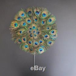 Peacock Feather Fan Handmade Animal Art Deco Vintage New N4159