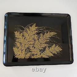 Plateau Foliage Wood Laqué Black Or Fine Vintage Art Deco New Home Table