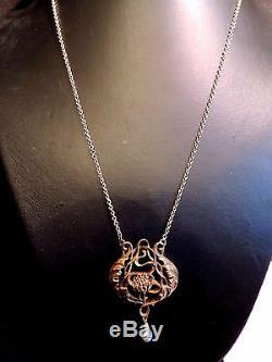 Rare Necklace Old Art Nouveau Beads Fine Gold 18 / Vintage Gold Necklace