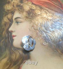 Rare Old Art Nouveau Ring Vintage Silver Pearl Amethyst Citrine