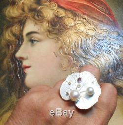 Rare Old Ring Vintage Art Nouveau Silver Pearl Amethyst Citrine