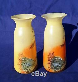 Rare Pair Legras Signed Landscape Glass Vases Art Nouveau Vintage Glass Pate