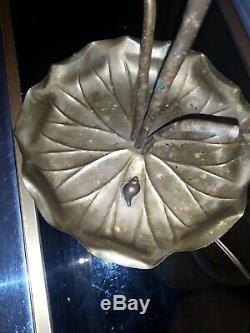 Rare Vintage Lotus Lamp Brass Bronze. Charles Sheet Flower House