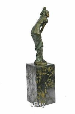 Rare Vintage Victorian Maiden Sculpture Garden Flowers Marble Art Deco Bronze Nr