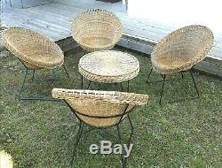 Rattan Set 4 Chairs And A Table Vintage Design 1970