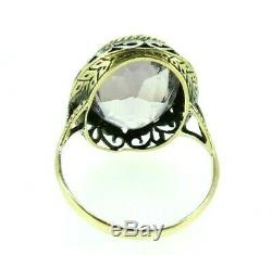 Ring Vintage Ans'20 In Solid Gold 18 Kt Art Nouveau Italian With Amethyst