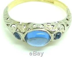 Ring Vintage Blanc Massif Gold 18 Kt Art Nouveau Italian Liberty Ans'20