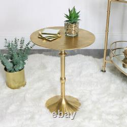 Round Golden Side Table Art Deco Vintage Modern Storage Dining Room Accent