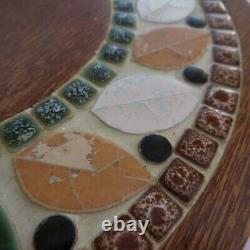 Round Top Handmade Wood Ceramic Mosaic Vintage Art Deco Table N4188