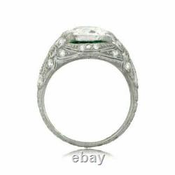 Round White Cup Art Deco Vintage Old Engagement - Wedding Silver Ring
