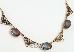 Sadie Green Vintage Art Nouveau Czech Saphiret Triple Glass Necklace Pendants