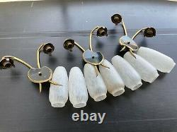Set Of 3 Double Wall Glass Palette Black Brass Vintage 50s Arlus Lunel