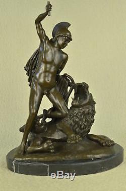 Signed Bronze Statue Metal Art Sculpture Vintage Classic Nude Man Roman Decor
