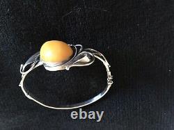 Silver Bracelet Massif & Amber Décor Art New Jewelry Vintage Jewellery