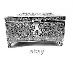 Silver Coating Designer Storage Metal Box Decor House Vintage Art