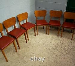 Six Vintage Dining Room Chairs Year 60
