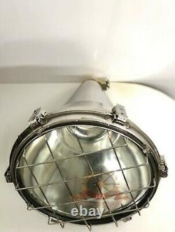Stainless Steel Silver Vintage Industrial Conical Ceiling During Ship Light
