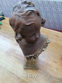 Statue Bust Child Engraved Nelson Art Deco Art Nouveau Antique Vintage