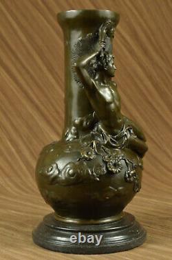 Style Art Nouveau Louis Auguste Moreau Vintage Reproduction Bronze Vase Nr