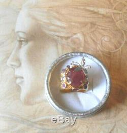 Sublime Ring Art Nouveau Old Couture Vintage Gold Ruby silver
