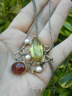 Superb Old Necklace Old Art Nouveau Vintage Gold Silver Ruby citrine Pearl