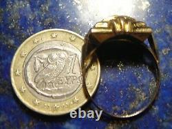 Tank Ring Vintage Art Nouveau Gold 18k 750 + 4x Diamonds Poisons 2,16g T59