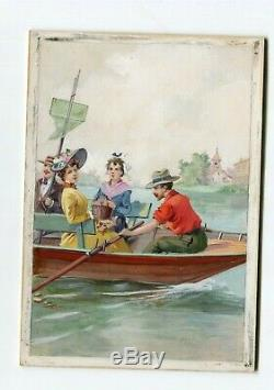 Tempera Vintage Drawing Figures Drawing Former Was Boat, Boat