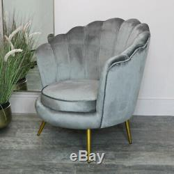 Velvet Gray Hull Chair Vintage Art Deco Luxury Bedroom Dining Room Accent
