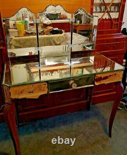 Venetian Hairdresser -triptych & Top Vintage Mirror Art Nouveau Style Cabinet