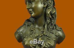 Victorian Maiden Female Bust Statue Art Nouveau Vintage Bronze Balance