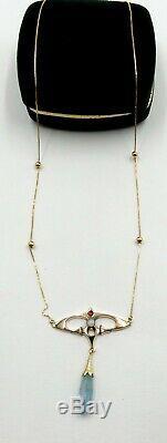 Vintage 14k Gold Chain & Antique Art Nouveau W 10k Opal Aquamarine Pendant Neck