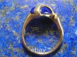 Vintage 18k Gold Ring 750 + Lapis Lazuli Art Nouveau / Déco 7.09g T59