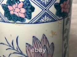 Vintage 20th Century Art Nouveau Floral Style Pottery Umbrella Stand