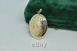 Vintage 9ct Yellow Gold Medallion With Art Nouveau Floral Motif # P535 3.92g