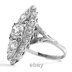 Vintage 9kt Gold White Diamond Ring 3.1 Carats Art Deco Wedding Rings D/vvs1