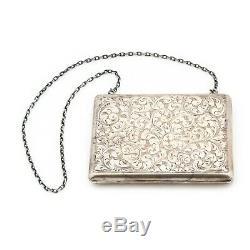 Vintage Antique Art Nouveau Sterling Silver 925 Rococo Silk Hunted Wallet