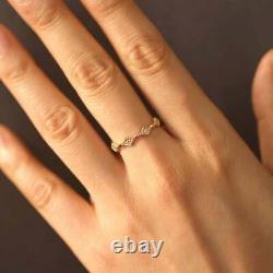 Vintage Art 14k Solid Or Yellow With Diamond Eternity Ring For Engagement