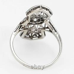 Vintage Art Deco Diamond Wedding Engagement Milgrain Ring 14kt White Gold D /