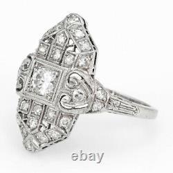 Vintage Art Deco Diamond Wedding Engagement Ring 14kt Or White Milgrain D /