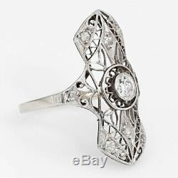 Vintage Art Deco Diamond Wedding Engagement Ring 14kt White Gold Milgrain D /