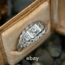 Vintage Art Deco Princess White Engagement Diamond Ring In Gold Gold Finish